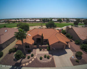 DRONE VIEW OF FRONT ELEVATION & GOLF COURSE