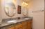 Granite counters, dual vanities, private tub-shower & toilet room