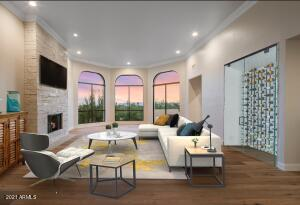 Enter into the Greatroom with VIEWS of Phoenix Skyline and Camelback Mountain
