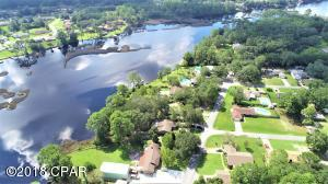 Aerial view of Callaway Bayou and your home is nestled on the beautiful lot on the water just waiting for your arrival!!
