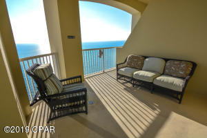 This recessed section of the balcony is just off of the owner's suite.