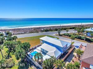 A 'one of a kind' location directly across the street from the private beach access to beautiful Santa Monica Beach. Located at the quiet, West end of Panama City Beach yet just a 5 minute drive to Hwy 30A!