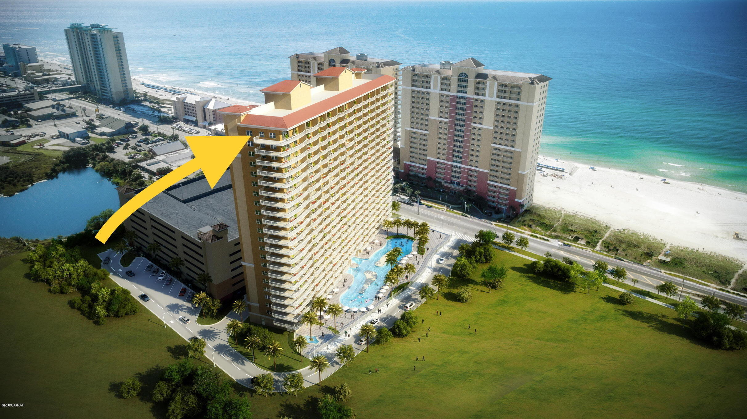 See PCB like never before! Premium Penthouse with 10 ft. Ceilings and the only Full Sun Balcony in the Complex. Massive Wrap Balcony overlooks the Eastern And Western Skyline including views of: The Beautiful Florida Coastline, Panama City Beach Pier, The Famous PCB SkyWheel, All of Pier Park, as well as West Bay. This unit will also give you a front row seat to some of the best fireworks shows on the coast. Never again in your lifetime will you find a unit this unique. The first new PCB condominium built in the last 10 years. The complex offers resort type zero entry pool, hot tub, 2 Tiki bars and a fabulous spa. Words can not give justice to this unit. If you are looking for a penthouse executive unit, come out and have a look for yourself. This is an assignment of contract.