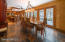 dining room easily accessed from kitchen , porch and patio