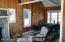Enclosed porch with fireplace