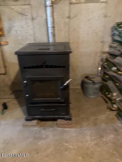 Wood stove in basement