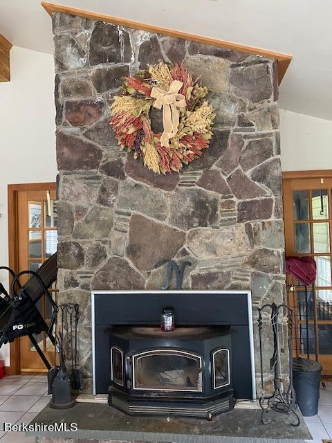 stone fireplace in great room
