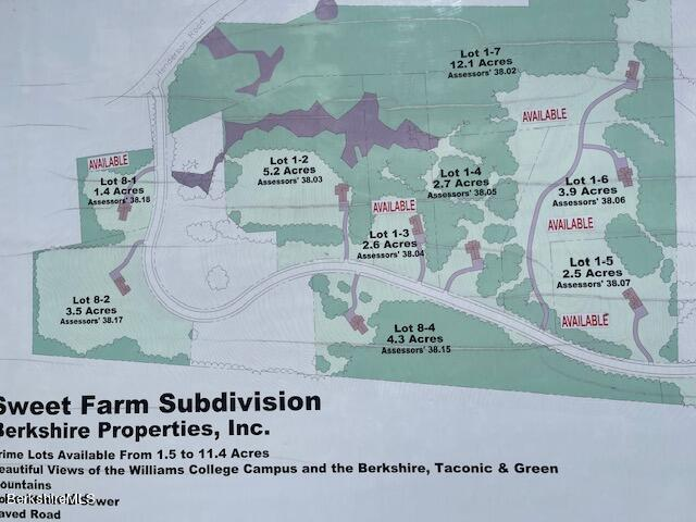 Lot 1-3 SWEET FARM, Williamstown, Massachusetts 01267, ,Land,For Sale,SWEET FARM,218238