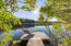 """Main House Dock #1: the """"morning dock,"""" and 2 of the 40 high-bush blueberry shrubs that rim the shore."""