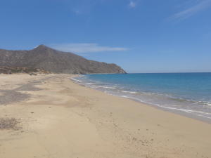 White sand, safe swimming
