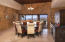 Large dining area with beautiful brick copala ceiling, opens to large shaded terrace for al fresco dining and BBQing.