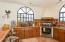 Open kitchen with breakfast counter