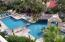 Aerial view morning pool. In the sun from 8 AM to 4 PM. The Social Center of Misiones.