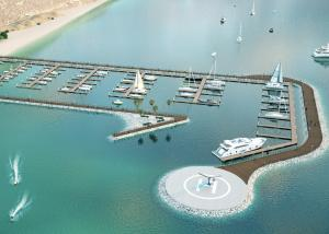Rendering of the proposed 150-slip marina and helipad.