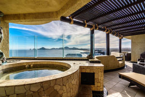 Private hot tub on terrace with bay views