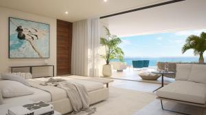 Airy bedrooms are tucked away for privacy, with floor-to-ceiling glass doors opening to covered terraces. Customizable spa-like bathroom showcase features such as deep soaking tubs, sleek frameless glass showers and natural stone tile.