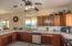 large kitchen has ample counters and cabinet space