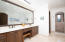 Marble counter and walk in shower