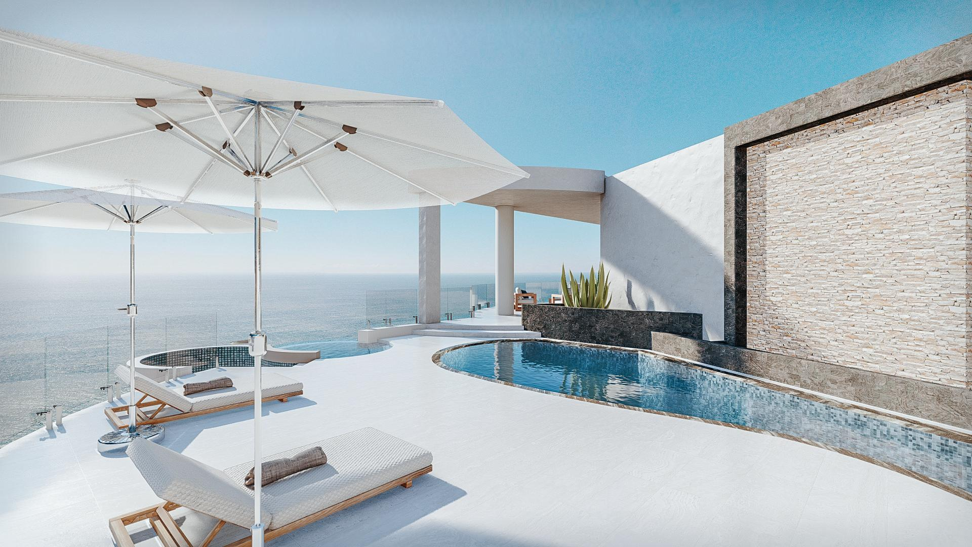 **First 27 photos are proposed renderings and last 25 photos actual photos. Casa Vista Alegria is a one of a kind southern oceanfront hillside retreat with breathtaking 180-degreepanoramic views of the Pacific Ocean. The contemporary design style shines in the original luxury gated community of Pedregal. This perfect floor-plan has separate living and working spaces. The detached guest tower offers 2 guest suites with private amenities such as jacuzzi and BBQ area. The home comes with a luxurious master suite, impressive views from entertaining areas, and an incredible gourmet kitchen. The proposed remodel is for a 5 bedroom estate. Price corresponds to current property conditions