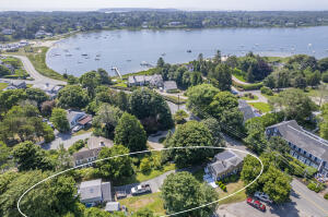 77 Queen Anne Road aerial showing proximity to Oyster Pond
