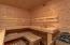In the large cedar lined sauna