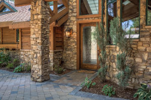 Artfully mixing leaded glass, rock, and wood