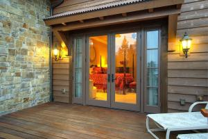 Doors to private deck, main level.