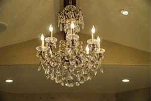 Incredible Schonbek Chandelier for daily inspiration in the ensuite bath.