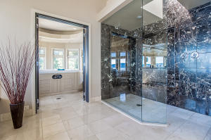 glass and marble master shower