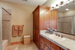 Tiled shower with tub, Knotty Alder cabinetry