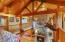 Gorgeous Tongue and Groove Ceiling, Log posts from Tamarack Trees, open loft beamed two story family room
