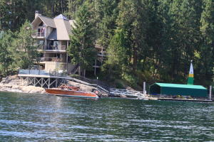 Scott house from lake with boat