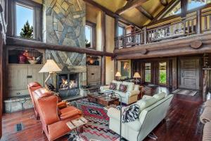 Cozy conversation areas amid the many custom features. Furnished with incredible crafted and Custom leather sofas, recliners, tables, and more...finds