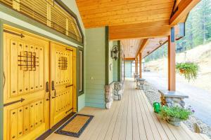 Double walnut speakeasy doors.