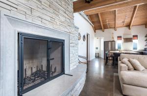 Rock wood burning Fireplace