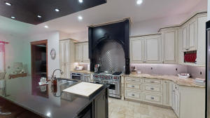 "With a ""quilted"" stainless steel back splash."