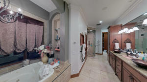omplete with self-flushing Jacuzzi tub, cedar sauna w/TV viewing portal, steam shower, heated towel bars and flooring...