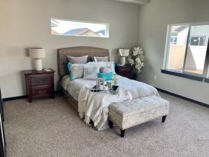 staged master bedroom