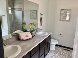 staged master bathroom