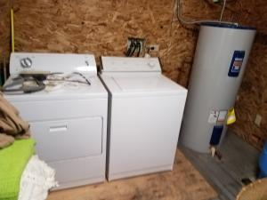 washer and dryer-hot water tank