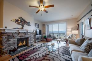 Cozy gas fireplace creates the perfect setting for gathering friends & family