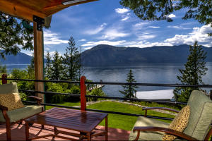 Covered deck over looking the boat docks and Lake Pend Oreille