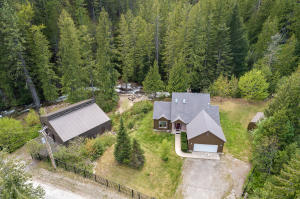 Aerial of Shop, House & Creek