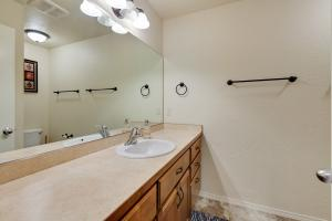 Large counter space, single sink, walk-in shower