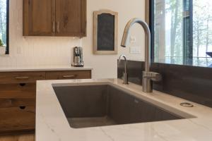 Undermount Blanco sink with water filter and garbage disposal.