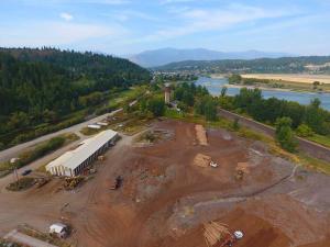 Industrial drone land behind shop