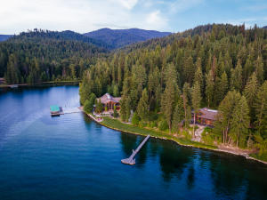 Main & Guest House with Docks Aerial