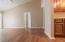 Vaulted Ceilings off kitchen. Door leads to master bedroom.