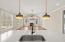 Farmhouse sink - large island with gorgeous pendant lighting