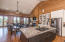 Oversized Granite Island with seating, fireplace, ocean views, seating for large group...